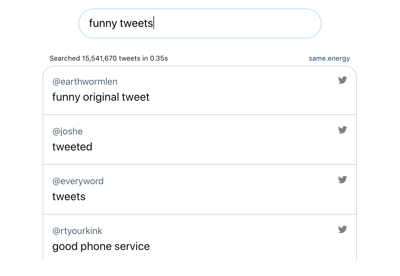 The top results are 'funny original tweet' and 'tweeted'. The use-mention distinction strikes again.